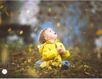 Gelbes Mäntelchen – gelbe Blätter – Fotoshooting im Herbst